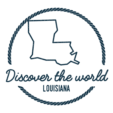 Louisiana Map Outline. Vintage Discover the World Rubber Stamp with Louisiana Map. Hipster Style Nautical Rubber Stamp, with Round Rope Border. USA State Map Vector Illustration. Çizim