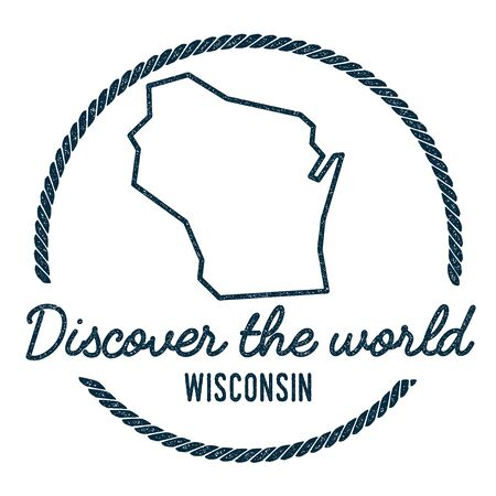 Wisconsin Map Outline. Vintage Discover the World Rubber Stamp with Wisconsin Map. Hipster Style Nautical Rubber Stamp, with Round Rope Border. USA State Map Vector Illustration.