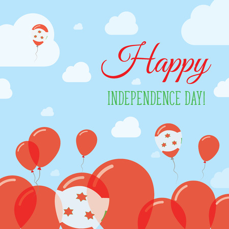 streamers: Burundi Independence Day Flat Patriotic Design. Burundian Flag Balloons. Happy National Day Vector Card.