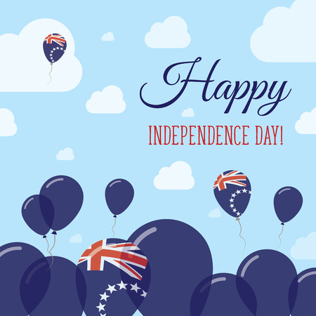 streamers: Cook Islands Independence Day Flat Patriotic Design. Cook Islander Flag Balloons. Happy National Day Vector Card.