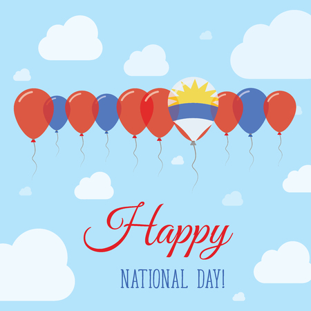 Antigua and Barbuda National Day Flat Patriotic Poster. Row of Balloons in Colors of the Antiguan, Barbudan flag. Happy National Day Card with Flags, Balloons, Clouds and Sky.