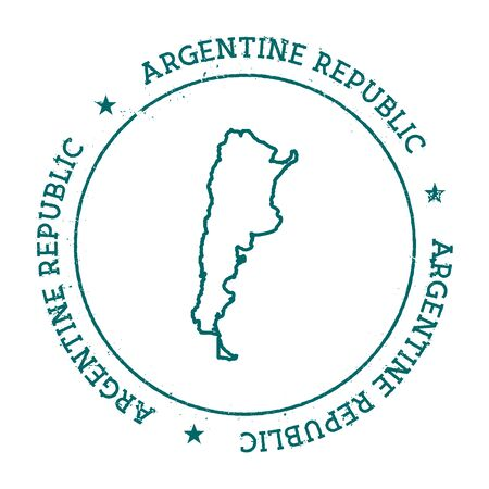 homeland: Argentina vector map. Retro vintage insignia with country map. Distressed visa stamp with Argentina text wrapped around a circle and stars. USA state map vector illustration. Illustration