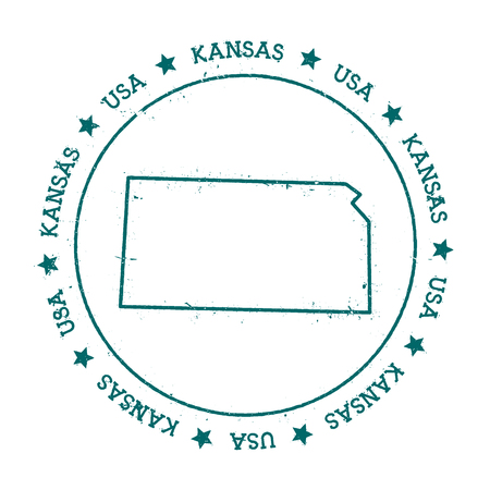 texturized: Kansas vector map. Retro vintage insignia with US state map. Distressed visa stamp with Kansas text wrapped around a circle and stars. USA state map vector illustration.