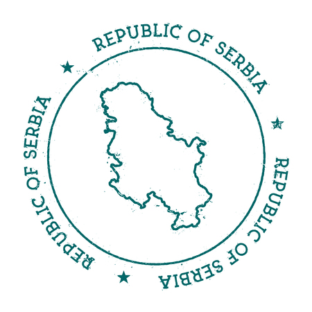 Serbia vector map. Retro vintage insignia with country map. Distressed visa stamp with Serbia text wrapped around a circle and stars. USA state map vector illustration. 向量圖像