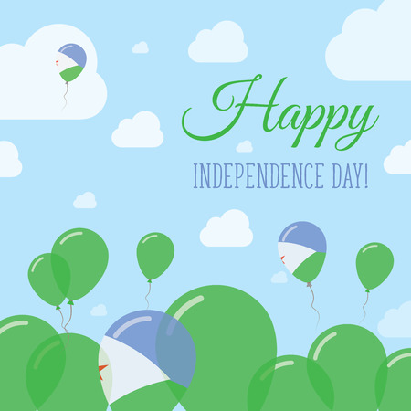 Djibouti Independence Day Flat Patriotic Design. Djibouti Flag Balloons. Happy National Day Vector Card.