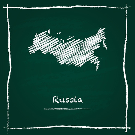 Russian Federation outline vector map hand drawn with chalk on a green blackboard. Chalkboard scribble in childish style. White chalk texture on green background.