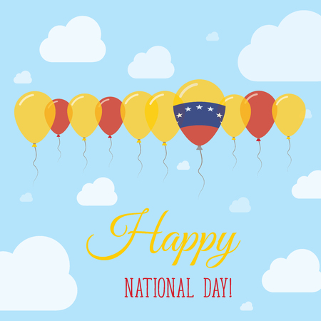 Venezuela, Bolivarian Republic of National Day Flat Patriotic Poster. Row of Balloons in Colors of the Venezuelan flag. Happy National Day Card with Flags, Balloons, Clouds and Sky.