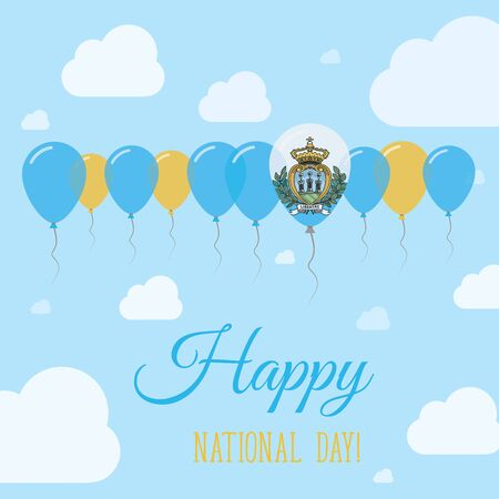 streamers: San Marino National Day Flat Patriotic Poster. Row of Balloons in Colors of the Sammarinese flag. Happy National Day Card with Flags, Balloons, Clouds and Sky.