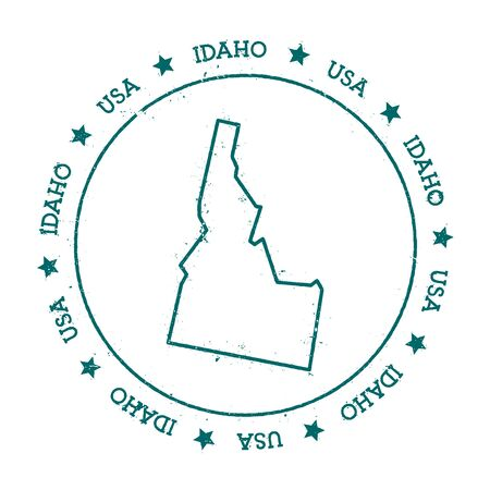 texturized: Idaho vector map. Retro vintage insignia with US state map. Distressed visa stamp with Idaho text wrapped around a circle and stars. USA state map vector illustration.