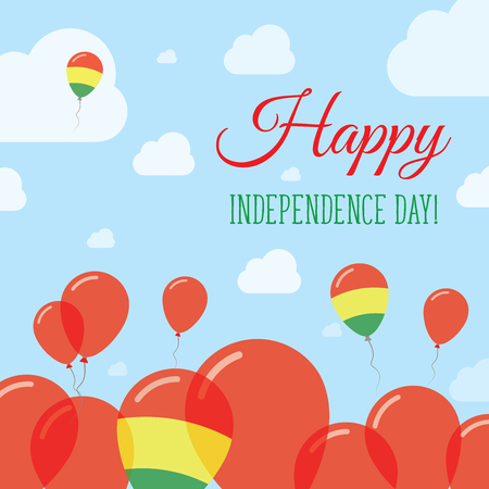 streamers: Bolivia Independence Day Flat Patriotic Design. Bolivian Flag Balloons. Happy National Day Vector Card.
