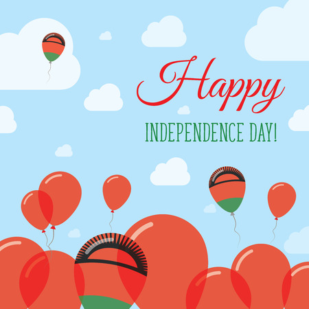 Malawi Independence Day Flat Patriotic Design. Malawian Flag Balloons. Happy National Day Vector Card.