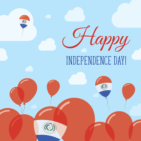 Paraguay Independence Day Flat Patriotic Design. Paraguayan Flag Balloons. Happy National Day Vector Card. Illustration