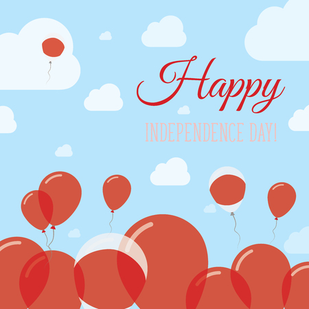 Japan Independence Day Flat Patriotic Design. Japanese Flag Balloons. Happy National Day Vector Card. Illustration