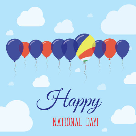 Seychelles National Day Flat Patriotic Poster. Row of Balloons in Colors of the Seychellois flag. Happy National Day Card with Flags, Balloons, Clouds and Sky.