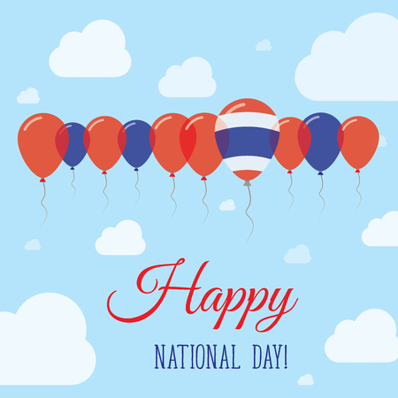declaration of independence: Thailand National Day Flat Patriotic Poster. Row of Balloons in Colors of the Thai flag. Happy National Day Card with Flags, Balloons, Clouds and Sky.