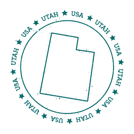 Utah vector map. Retro vintage insignia with US state map. Distressed visa stamp with Utah text wrapped around a circle and stars. USA state map vector illustration.