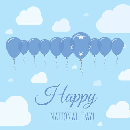 independency: Micronesia, Federated States Of National Day Flat Patriotic Poster. Row of Balloons in Colors of the Micronesian flag. Happy National Day Card with Flags, Balloons, Clouds and Sky. Illustration