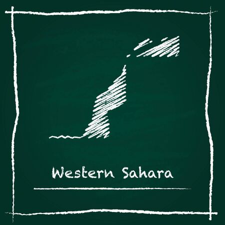 erased: Western Sahara outline vector map hand drawn with chalk on a green blackboard. Chalkboard scribble in childish style. White chalk texture on green background.