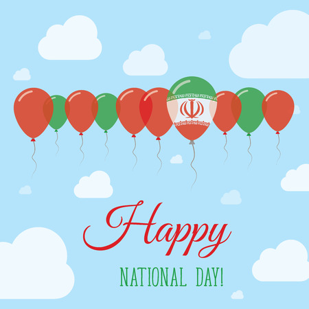 Iran, Islamic Republic Of National Day Flat Patriotic Poster. Row of Balloons in Colors of the Iranian flag. Happy National Day Card with Flags, Balloons, Clouds and Sky. Illustration