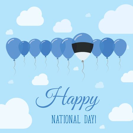 Estonia National Day Flat Patriotic Poster. Row of Balloons in Colors of the Estonian flag. Happy National Day Card with Flags, Balloons, Clouds and Sky.