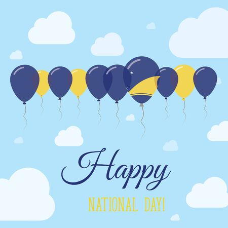 liberation: Tokelau National Day Flat Patriotic Poster. Row of Balloons in Colors of the Tokelauan flag. Happy National Day Card with Flags, Balloons, Clouds and Sky. Illustration