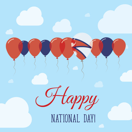 independency: Nepal National Day Flat Patriotic Poster. Row of Balloons in Colors of the Nepalese flag. Happy National Day Card with Flags, Balloons, Clouds and Sky.
