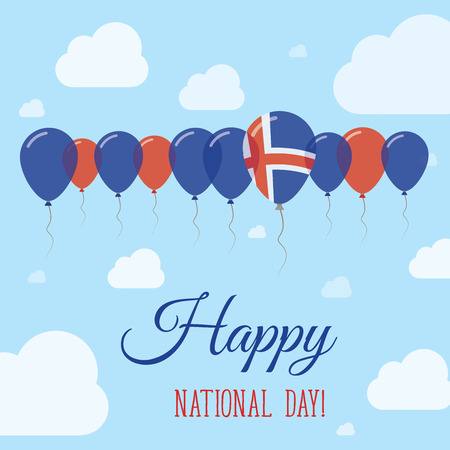 Iceland National Day Flat Patriotic Poster. Row of Balloons in Colors of the Icelander flag. Happy National Day Card with Flags, Balloons, Clouds and Sky.