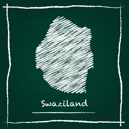 Swaziland outline vector map hand drawn with chalk on a green blackboard. Chalkboard scribble in childish style. White chalk texture on green background. Illustration