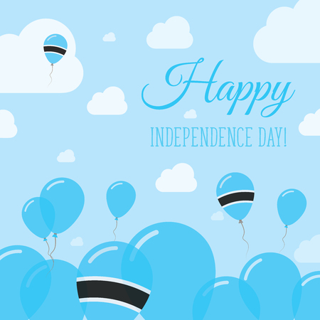 Botswana Independence Day Flat Patriotic Design. Motswana Flag Balloons. Happy National Day Vector Card.