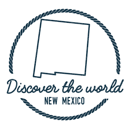 New Mexico Map Outline. Vintage Discover the World Rubber Stamp with New Mexico Map. Hipster Style Nautical Rubber Stamp, with Round Rope Border. USA State Map Vector Illustration.