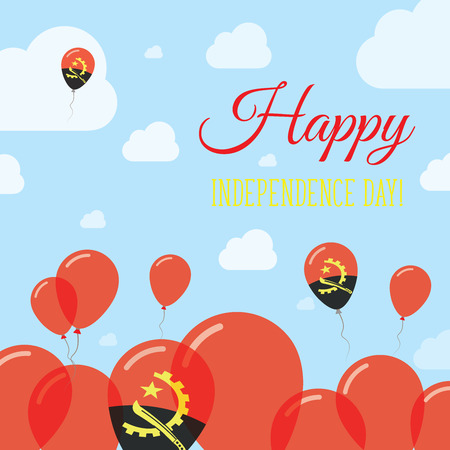 Angola Independence Day Flat Patriotic Design. Angolan Flag Balloons. Happy National Day Vector Card.