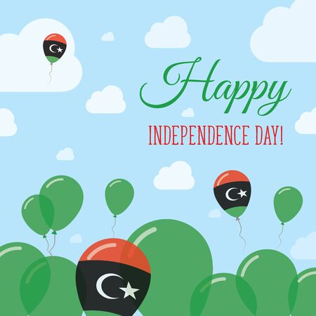 Libya Independence Day Flat Patriotic Design. Libyan Flag Balloons. Happy National Day Vector Card. Illustration