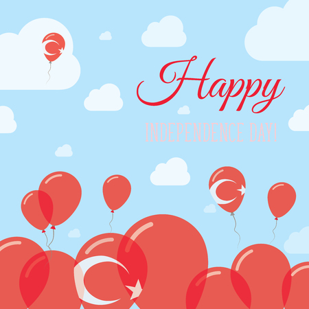 streamers: Turkey Independence Day Flat Patriotic Design. Turkish Flag Balloons. Happy National Day Vector Card. Illustration