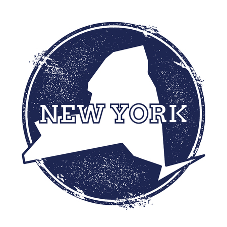 overseas: New York vector map. Grunge rubber stamp with the name and map of New York, vector illustration. Can be used as insignia, logotype, label, sticker or badge of USA state.