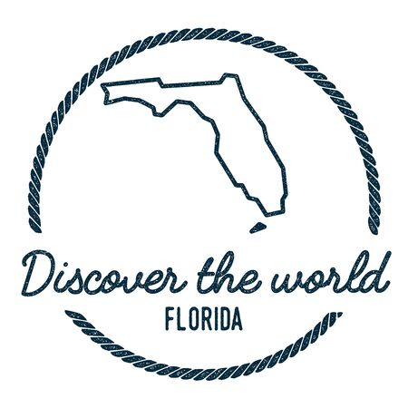 Florida Map Outline. Vintage Discover the World Rubber Stamp with Florida Map. Hipster Style Nautical Rubber Stamp, with Round Rope Border. USA State Map Vector Illustration.