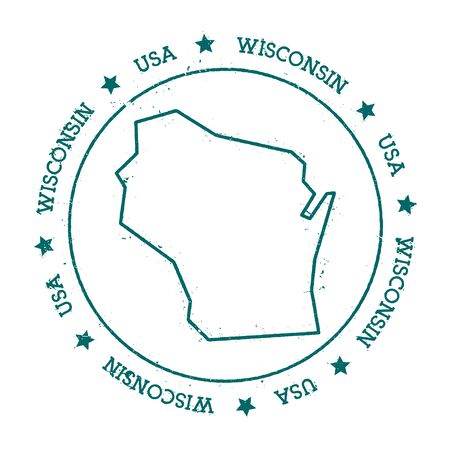 Wisconsin vector map. Retro vintage insignia with US state map. Distressed visa stamp with Wisconsin text wrapped around a circle and stars. USA state map vector illustration. 向量圖像