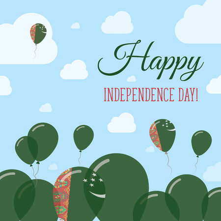pied: Turkmenistan Independence Day Flat Patriotic Design. Turkmen Flag Balloons. Happy National Day Vector Card.