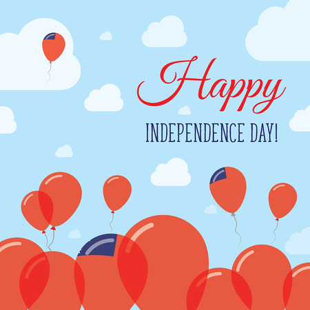 Samoa Independence Day Flat Patriotic Design. Samoan Flag Balloons. Happy National Day Vector Card.