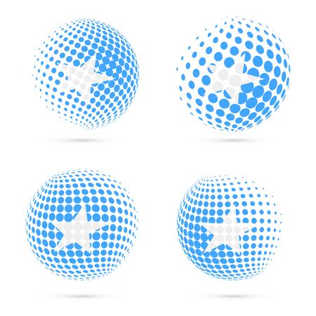 foreigner: Somalia halftone flag set patriotic vector design. 3D halftone sphere in Somalia national flag colors isolated on white background.