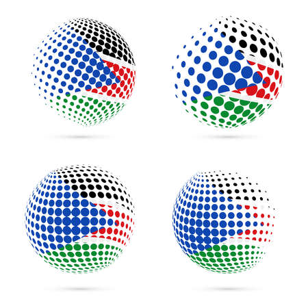streamers: South Sudan halftone flag set patriotic vector design. 3D halftone sphere in South Sudan national flag colors isolated on white background. Illustration