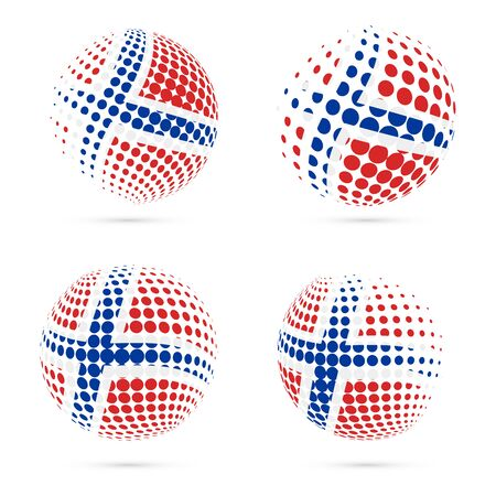 tutor: Svalbard halftone flag set patriotic vector design. 3D halftone sphere in Svalbard national flag colors isolated on white background. Illustration