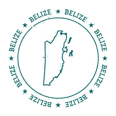 Belize vector map. Retro vintage insignia with country map. Distressed visa stamp with Belize text wrapped around a circle and stars. USA state map vector illustration.