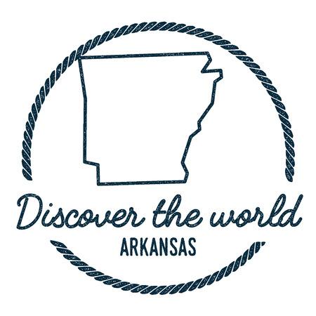 Arkansas Karte Gliederung. Weinlese Entdecken Sie den Weltstempel mit Arkansas-Karte. Hippie-Art-nautischer Stempel, mit rundem Seil-Rand. USA-Staats-Karten-Vektor-Illustration.