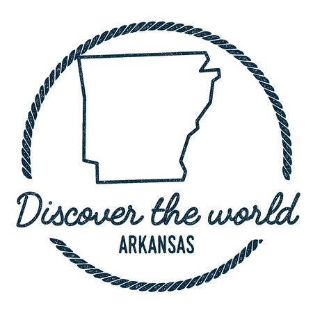 Arkansas Map Outline. Vintage Discover the World Rubber Stamp with Arkansas Map. Hipster Style Nautical Rubber Stamp, with Round Rope Border. USA State Map Vector Illustration. Illustration