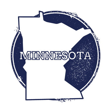 Minnesota vector map. Grunge rubber stamp with the name and map of Minnesota, vector illustration. Can be used as insignia, logotype, label, sticker or badge of USA state.
