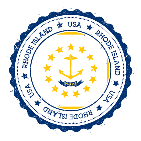 texturized: Rhode Island flag badge. Grunge rubber stamp with Rhode Island flag. Vintage travel stamp with circular text, stars and USA state flag inside it. Vector illustration.