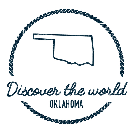 Oklahoma Map Outline. Vintage Discover the World Rubber Stamp with Oklahoma Map. Hipster Style Nautical Rubber Stamp, with Round Rope Border. USA State Map Vector Illustration. Illustration