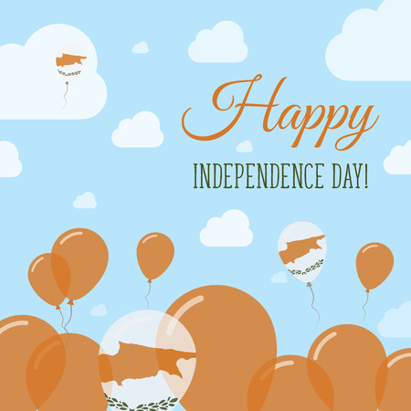 Cyprus Independence Day Flat Patriotic Design. Cypriot Flag Balloons. Happy National Day Vector Card.