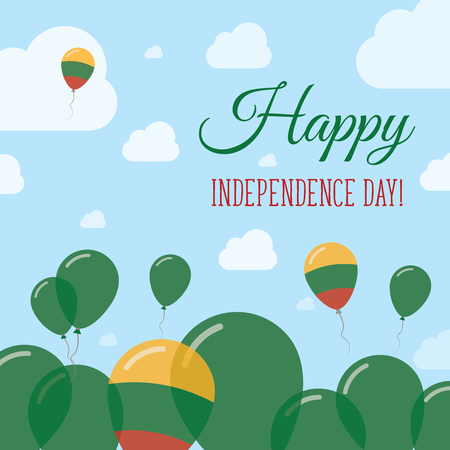 polychrome: Lithuania Independence Day Flat Patriotic Design. Lithuanian Flag Balloons. Happy National Day Vector Card.