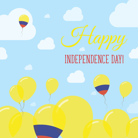 joyous: Colombia Independence Day Flat Patriotic Design. Colombian Flag Balloons. Happy National Day Vector Card.